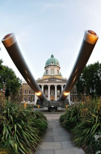15-inch battleship gun barrels outside the Imperial War Museum, London, England, UK