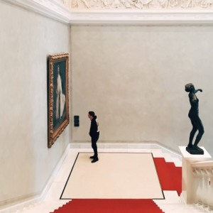 visitor and painting