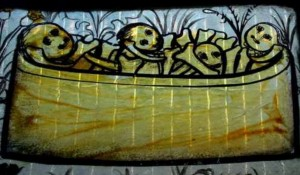 Pricke of Conscience stained glass window detail